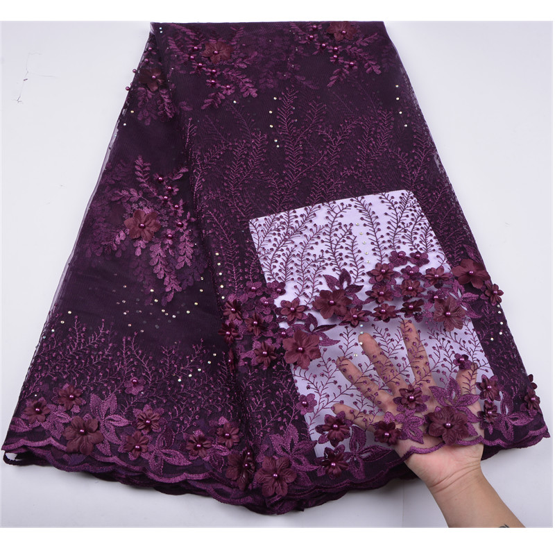 Nigeria Tulle Lace Fabric Embroidery Design 3D Flower Fabric High Quality African French Net Lace Fabric