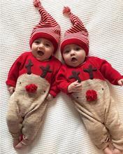 2017 Navidad recién nacido Niños Niñas ciervos Navidad ropa de manga larga romper + sombrero juego traje para 0-24 meses bebé 17nov27
