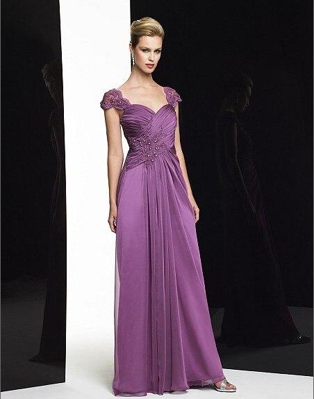 2018 New Design Vestidos De Festa Long Purple Lace Chiffon Plus Party Evening Elegant Formal Gown Mother Of The Bride Dresses