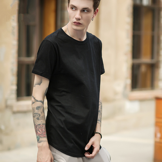 Men Extended Kanye T-shirt Hip Hop Justin Bieber Style Swag Long Tees Male  Short Sleeve Cotton Oversize Tshirt Hipster Tee Homme 893266643db2