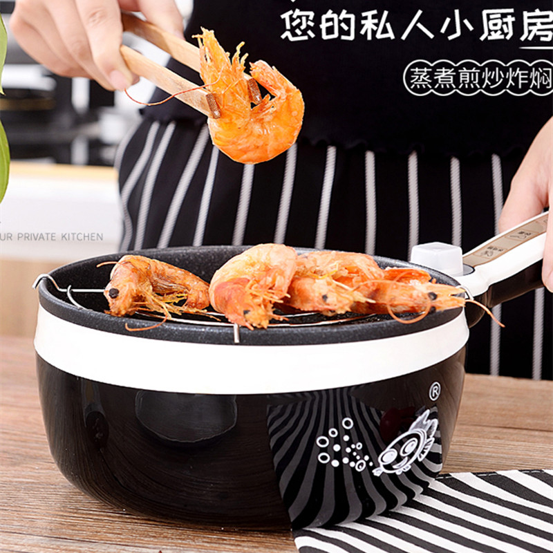 220V Mini 1.8L Electric Frying Pot Multifunctional Non-stick Electric Hot Pot Multi Cooker Cooking Machine EU/AU/UK/US Plug