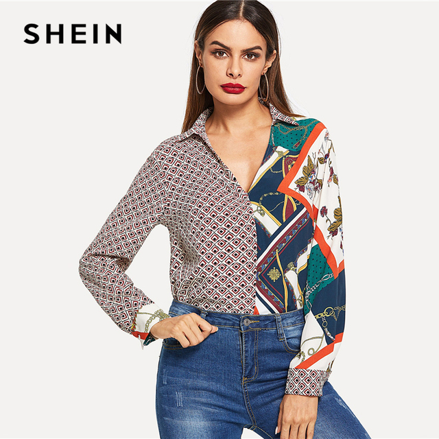 6292371219 SHEIN Multicolor Color Block Mixed Print V-Neck Shirt Elegant Workwear Long  Sleeve Pullover Women 2018 Autumn Modern Lady Shirts