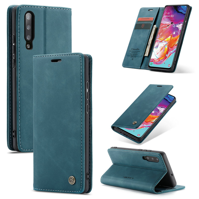 PU Leather Flip Cover Compatible with Samsung Galaxy A70 Elegant Wolf Wallet Case for Samsung Galaxy A70