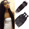 8A Indian Virgin Hair Straight with Closure Gossip  Hair Products Indian Straight Hair 3/4 Bundles with Frontal Closure #1B