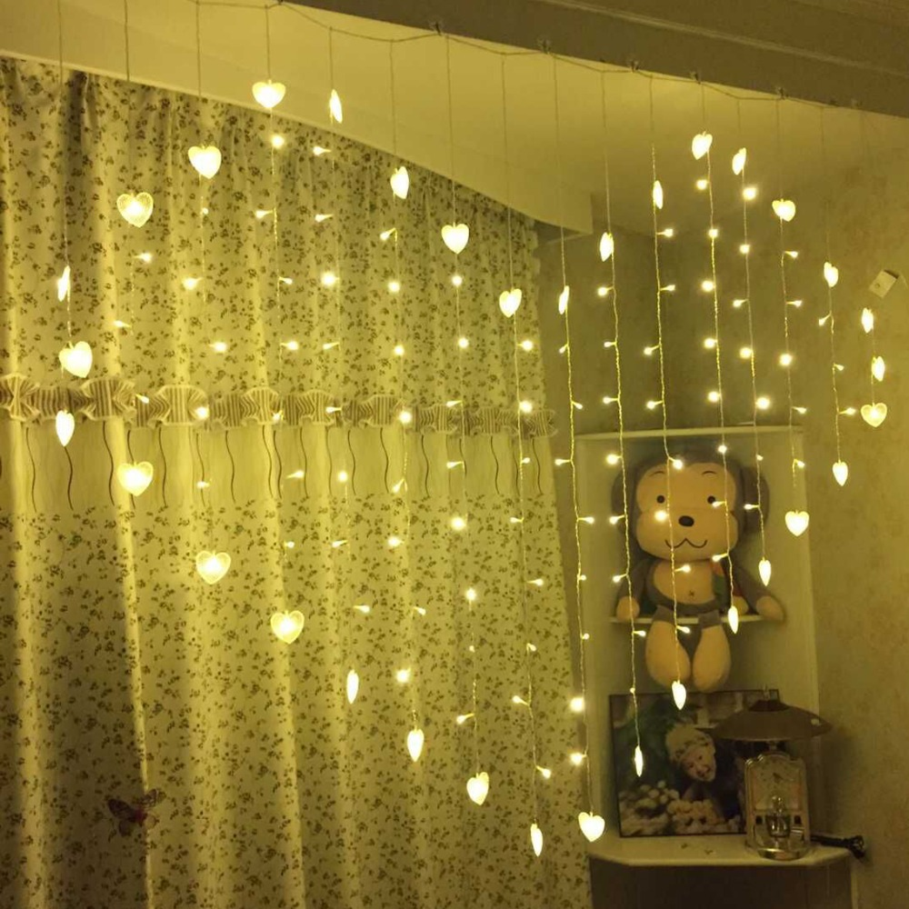 2.5x2M 128 LED Starry Heart Shape LED Christmas Fairy LED String Light Wedding Love Icicle Curtain Fairy Light Holiday Garland