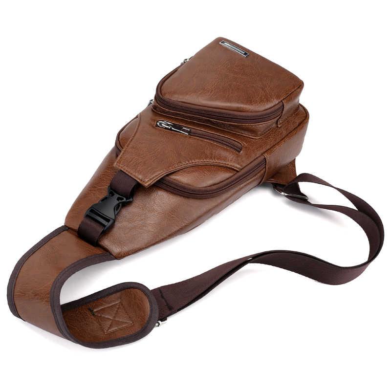 Bolsa de carga USB para hombre, bolsa de pecho cruzada para hombre, bolsa de hombro personalizada de PVC PU, bolsa de viaje Diagonal para hombre