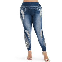5XL Plus Size 3D Jeans Print Leggings Women Skinny High Waist Leggings Push Up Workout Leggins 3D Workout Fitness Elastic Pants