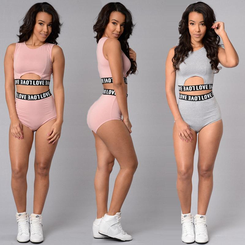 2 Piece Set Women Crop Top and Short Summer Love Pink Sport Suit Two Piece Set Gym Fitness Casual Tracksuit Cropped Tank+Bikini