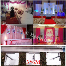 Wholesale 3X6M Stainless Steel Pipe Wedding Backdrop Stand With Expandable Rods Backdrop Frames Wedding Event&Party Decoration