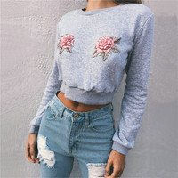 DoreenBow New Fashion Sexy Rose Embroidery Women Crop Top Autumn Floral Hoodies Long Sleeve O Neck