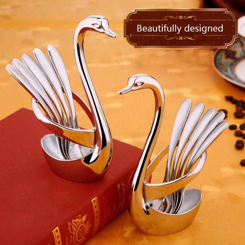 European 304 Stainless Steel Dinnerware Set Portable Cutlery Set Swan Holder Table Tableware Dinner Tableware Set spoon fork