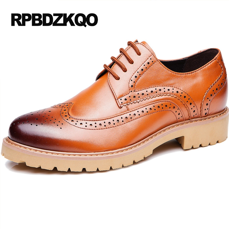 Formal Shoes British Style Work Business Wingtip Men Tan Chic Real Leather Latest Footwear Fashion Flats New Yellow Dress Autumn 2017 new autumn winter british retro men shoes zipper leather breathable sneaker fashion boots men casual shoes handmade