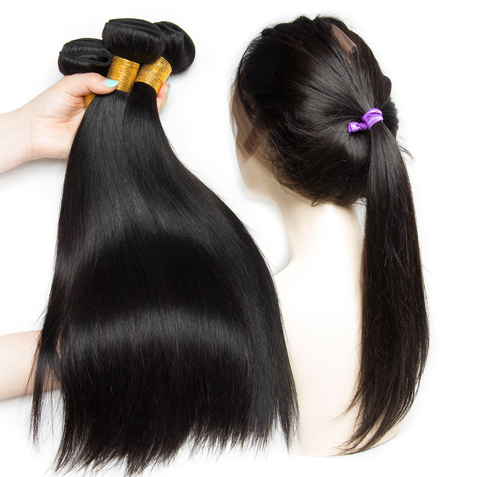 Alibele Brazilian Straight Bundles with 360 Lace Frontal Closure Remy Human Hair Bundles with Frontal Straight