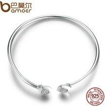 # Без логотипа # Аутентичные 100% 925 стерлингового серебра цепи подпись, ясно CZ манжеты Браслеты модные Серебряные ювелирные изделия PAS918