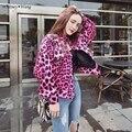 УИТНИ ВАН Весна Осенняя Мода Уличная Розовый Цвет Леопарда Куртка Женщин Вскользь куртку Плюс Размер