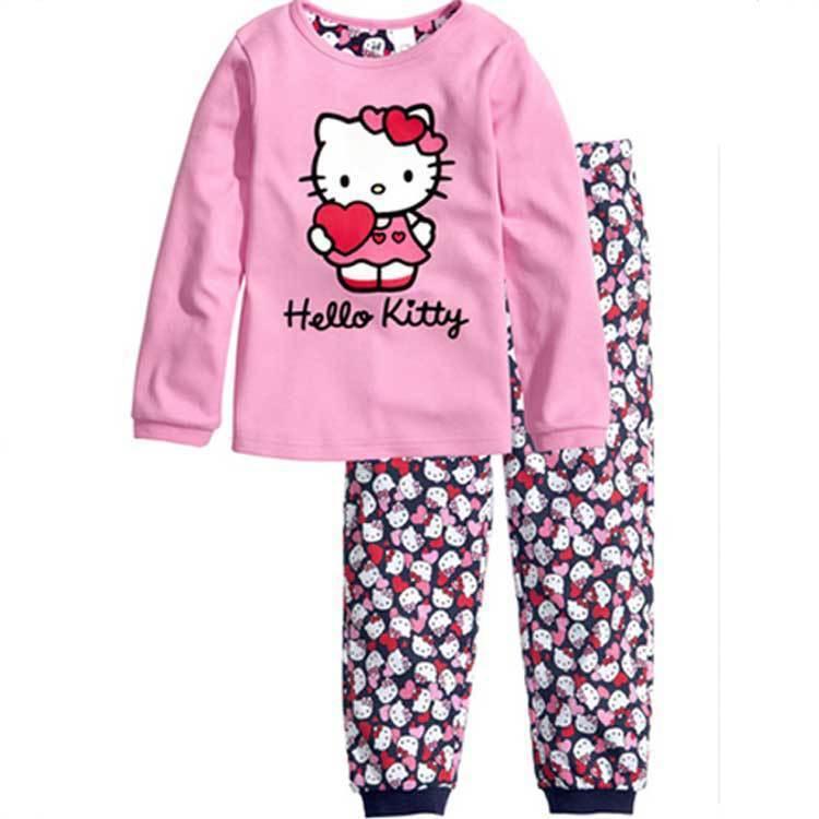 2018 nuovo del bambino del cotone delle ragazze dei capretti degli insiemi Ciao gattino set pigiama pijama infantil per le ragazze pigiami per bambini abbigliamento per bambini