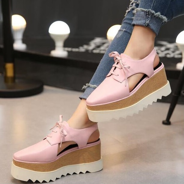 Hot Selling Slingback Women High Platform Shoes Lace-up Casual Shoes Square Toe Cut-out Wedge High Platform Shoes Pink Black pink lace detail cut out v neck see through fishnet teddy