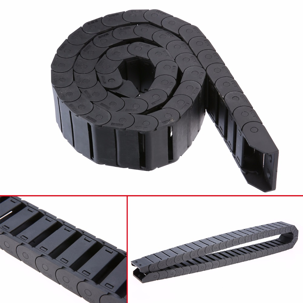 Mayitr 1pc Black Nylon Cable Drag Chain Wire Carrier 1000mm/40 Long R38 15mm x 40mm For CNC Router Machine Tools 10 x 20mm 10 20mm l1000mm plastic nylon cable drag chain wire carrier for cnc router machine tools