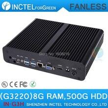 Small pc fanless mini pc Intel H87 with Intel Pentium Dual Core G3220 3.0Ghz CPU HDMI VGA DP Three display 8G RAM 500G HDD
