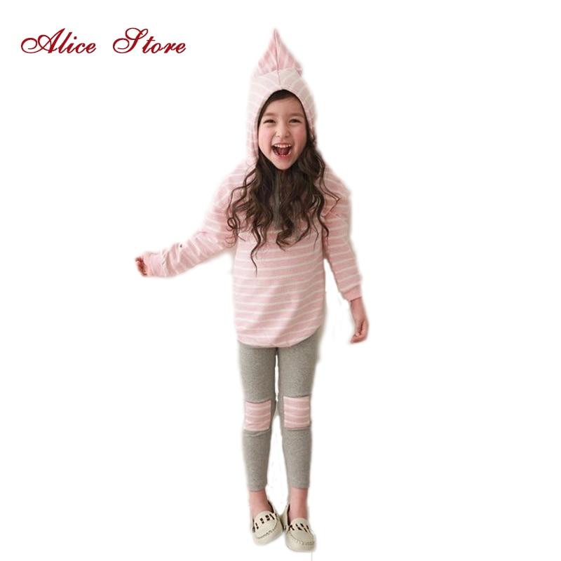 Klasszikus csíkos baba lány ruházat készlet tavaszi kiskereskedelmi 2db kapucnis pulóver + nadrág nadrág lányok ruhák szett alkalmi gyerek ruhák