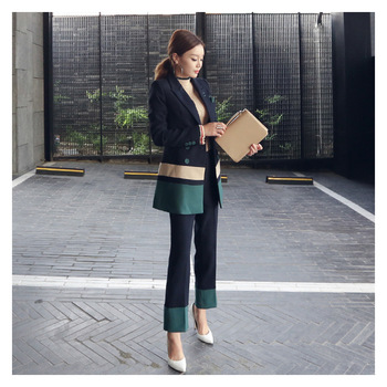Set female 2018 spring new temperament elegant small suit jacket + fashion trousers casual professional two-piece suit set