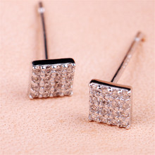 Presents Earring Silver Gold Color Square Stud Earrings with Sparkling Earrings Women Fashion Jewelry недорого