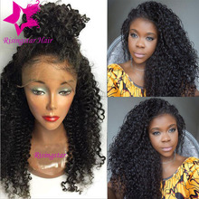 7A virgin brazilian kinky curly full lace human hair wigs free part curly glueless lace front wig with baby hair for black women
