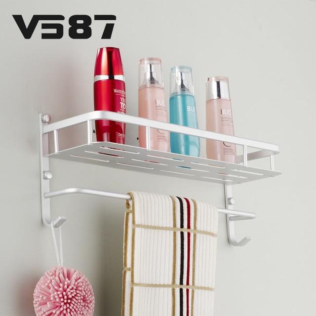 Bathroom Metal Storage Rack Shelf Tier Space Saver Aluminium Hanger Wall  Mount Shelves Kitchen Organizer Holder
