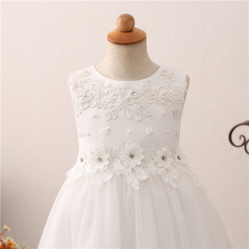 Short Front Long Back Formal Beauty Pageant For Flower Girls Dresses 2019 Party Communion Ball Gown Wedding Crystal Decoration in Flower Girl Dresses from Weddings Events
