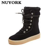 NUYORK Fashion Fox Fur Cow Suede Leather Womans Winter Snow Boots For Waterproof Warm Genuine Cowhide