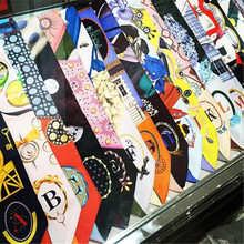 LEAYH Brand New 26 Letters Tarot Twill Silk Skinny Scarf Womens Handle Bag Small Ribbons Female Headbands Long Scarves & Wraps