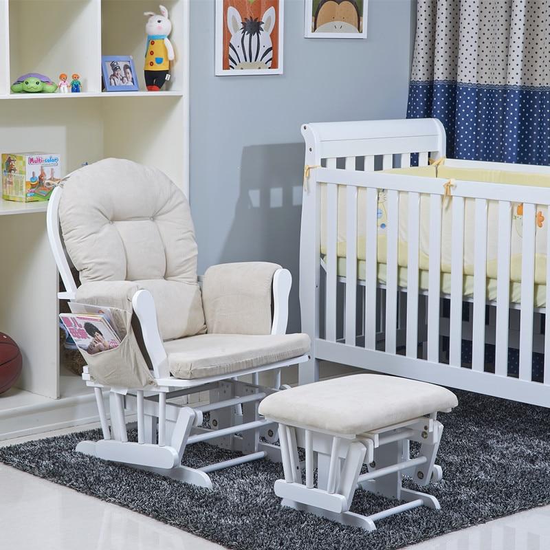 USA Popular Wood Rocking Chair Glider and Ottoman Set Living Room Furniture Modern Cushioned Rocking Nursery