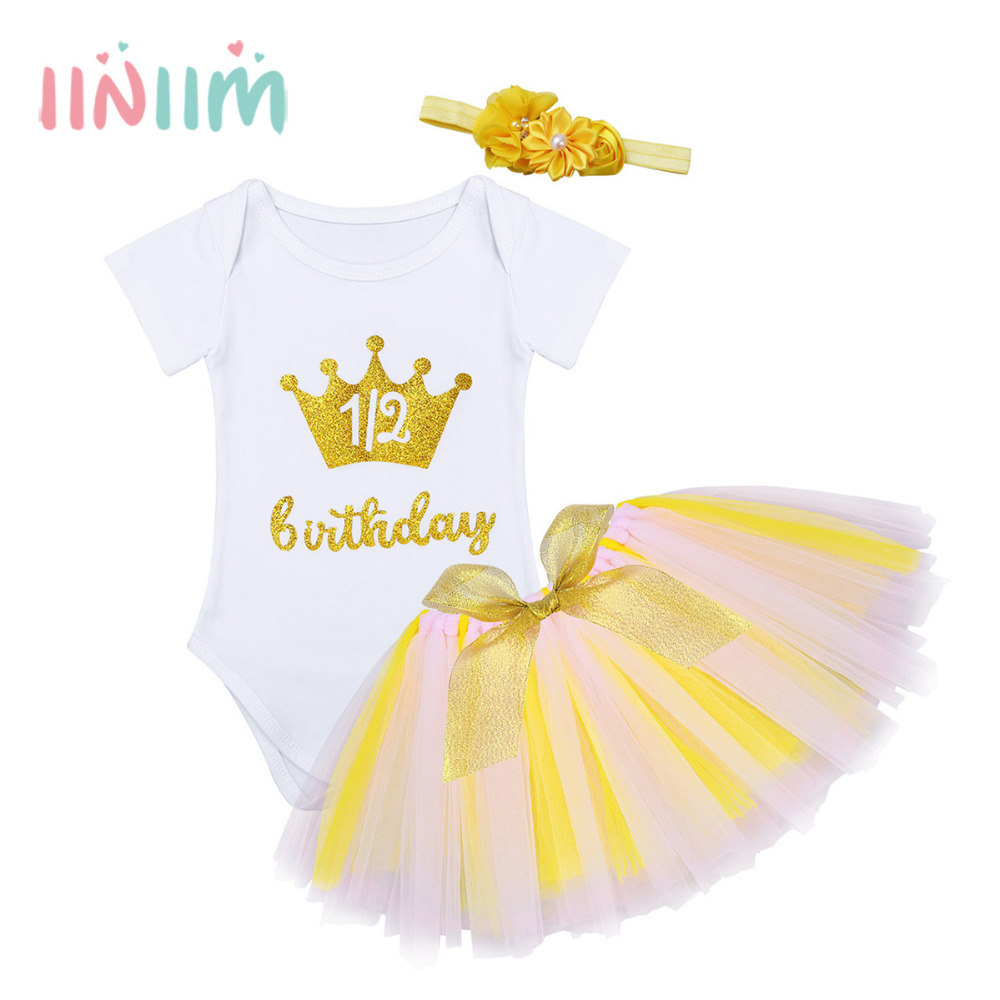 Infantil Baby Girls Outfit Short Sleeves Glittery Crown Letters Printed 1/2 Birthday Romper with Tutu Skirt Headband Clothes Set цена