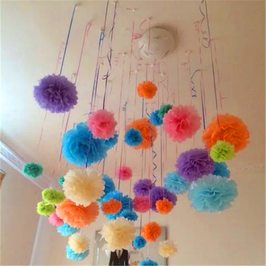 50 Pcs 12 Inch Tissue Paper Flowers Hanging Paper Pom Poms For