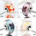 2014 NOVA 4 pcs S925 Esterlina grânulos de Prata de diferentes cores Facetada de vidro Murano Fit dora Jóias Pulseiras & pingente