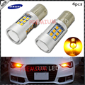 4pcs Amber Yellow Error Free Samsung LED 1156 P21W LED Bulbs For car Front or Rear Turn Signal Lights, Daytime Running Lights