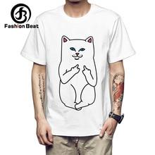 Funny Middle Finger Cat T-shirts Men 2018 Summer Short Sleeves Men Women Unisex T-shirt Printed Naughty Cats Man White Tops