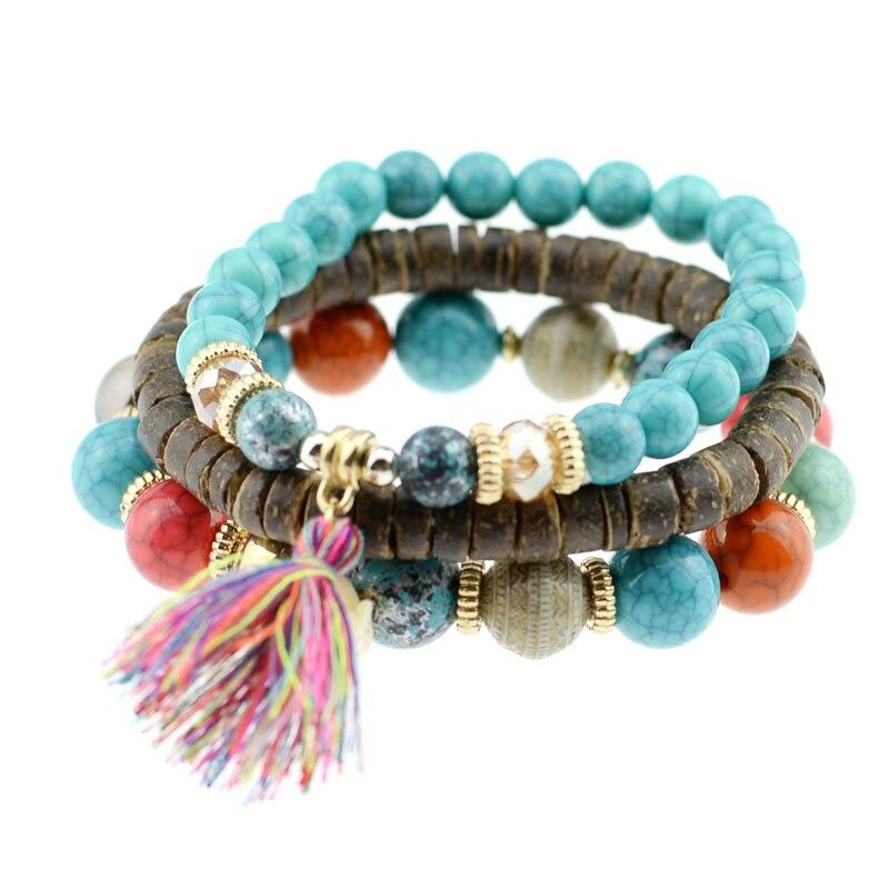 Retro Vintage Gypsy Howlite Stone Beaded Crystal Bracelet Cuff Jewelry Jewellery Gift for women