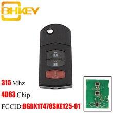 BHKEY 3Buttons For Mazda BGBX1T478SKE125-01 315Mhz Transponder Chip 4D63 For Mazda 3 5 2011-2015 For Mazda CX-7 CX7 2009-2012 turbo cartridge k0422 882 chra k0422882 l3k913700f core l3m713700c for mazda 3 2 3 mzr disi mazda 6 mzr disi mazda cx7 mzr disi