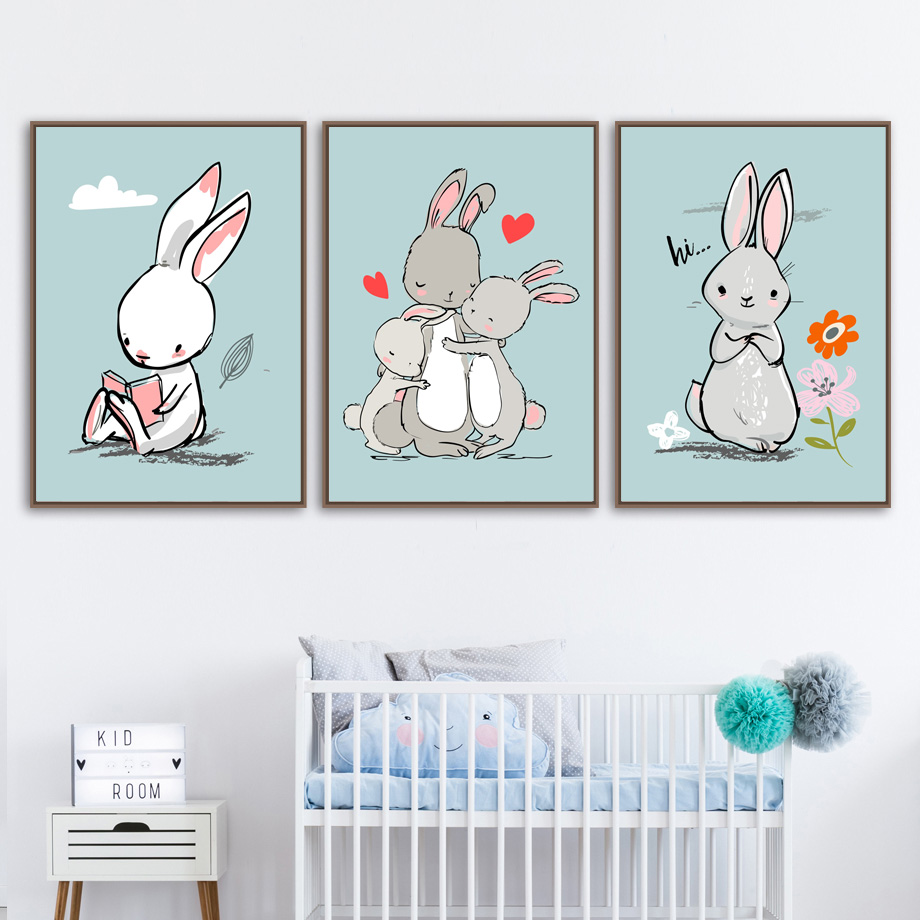 Animal Art Print Rabbit Family Wall Art Canvas Painting Nordic Posters And Prints Nursery Wall Pictures Baby Girl Boy Room Decor in Painting Calligraphy from Home Garden