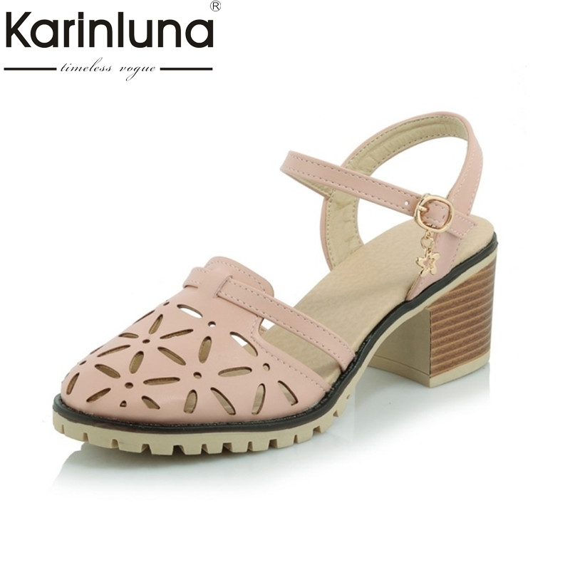 2017 round toe cut-outs platform chunky heels women shoes fashion lady buckle popular woman sandals summer casual big size 34-43 цены онлайн