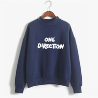 2017 Candy Color Autumn Winter Hoodies One Direction Women Letter Printed Pullover Fashion Casual Woman Fleece