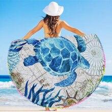 eaf754a5d975 2018 Redonda Toalha de Praia com Borlas Moda Tomar Sol Azul Padrão  Tartaruga Círculo Almofada Toalha