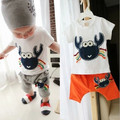 Verano Nueva marca bebé muchachos que arropan el sistema niños ropa chándal camiseta + shorts 2 unids kids boy ropa de cangrejo conjuntos de algodón