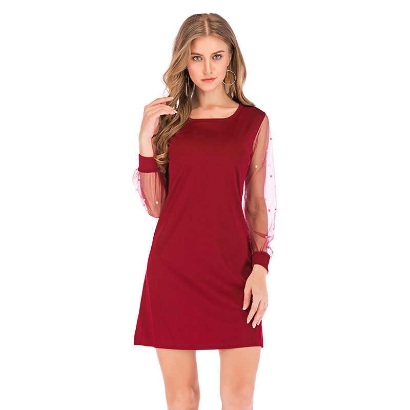 Anself женское осеннее платье с жемчугом и бисером, прозрачное Сетчатое женское платье с длинным рукавом, туника с круглым вырезом, элегантное вечернее платье черного/красного цвета