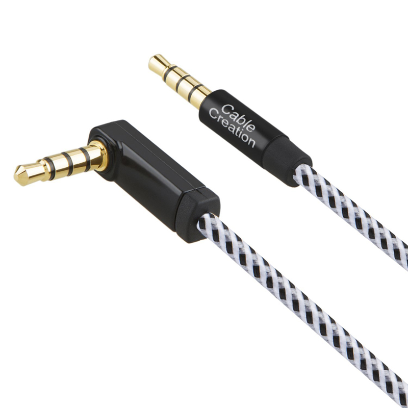 Right Angle Aux Cord 4 Foot Universal 3.5mm Auxiliary Audio Cable New