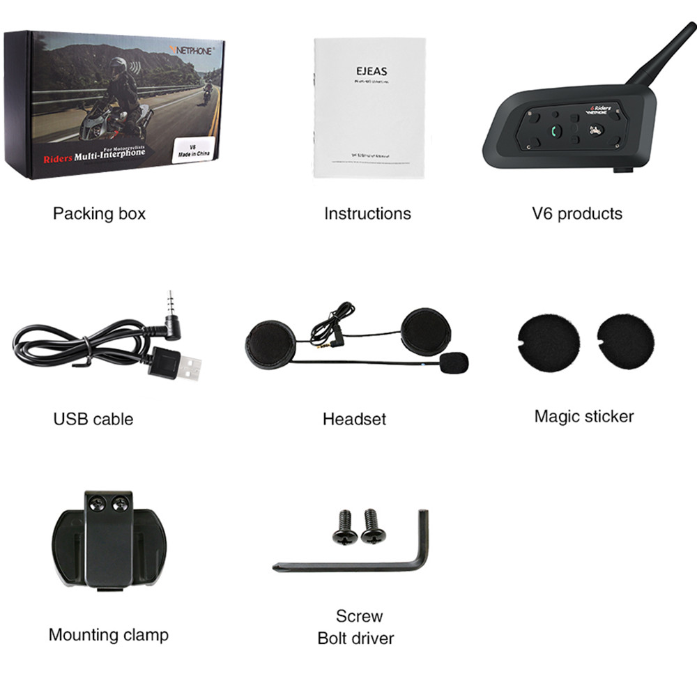 Wireless Helmet Intercom V6 1200M Motorcycle Bluetooth Headsets Interphone For 6 Riders Intercomunicador Moto Intercom GPS