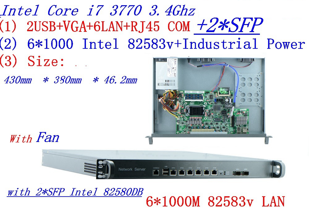 Intel Quad-Core I7 3770 3.4Ghz Smart 1U Network Firewall Soft Routing 8 Ports  6*1000M 82583V With 2* Intel  SFP 1000M