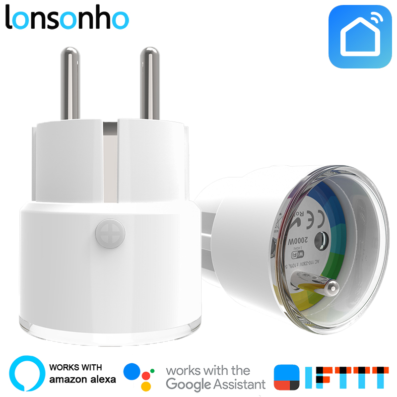 Lonsonho Smart Plug Wifi Smart Socket Poland France Euro UK US Outlet 10A Works With Google Assistant Home Mini Alexa IFTTT
