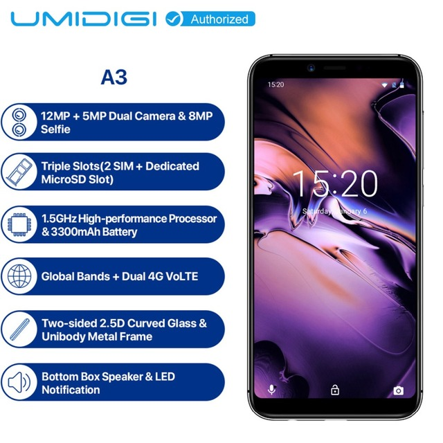 "UMIDIGI A3 Mobile Phone Global Band 5.5""HD Display 2GB 16GB Quad core Android 8.1 12MP Face Unlock Dual 4G 3 Slots Smartphone"